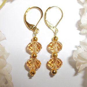 Orange & Gold Beaded Earring Set Small NWT 5644